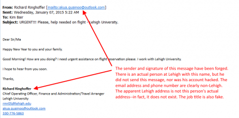Travel arrangements phishing message