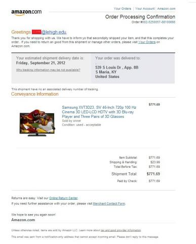 Amazon Order Confirmation