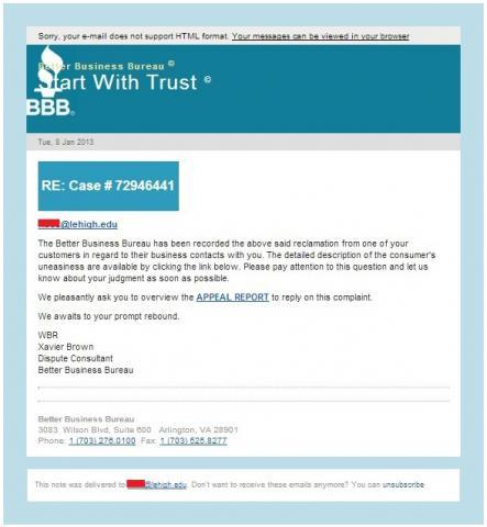 Better Business Bureau Claim Email