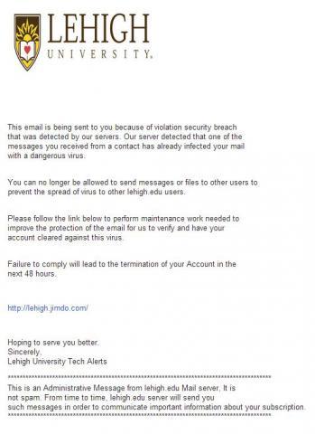 "Fake ""Security Breach"" Alert"