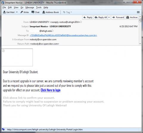 Phishing Examples 2013 Recent Phishing Exampl...
