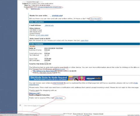 Fake Amazon Kindle Order Confirmation