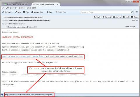 Fake Mail Quota Warning