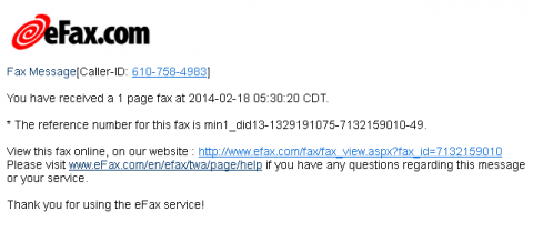 efax phishing message screenshot