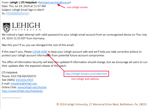 Fake Email Sign-In Alert