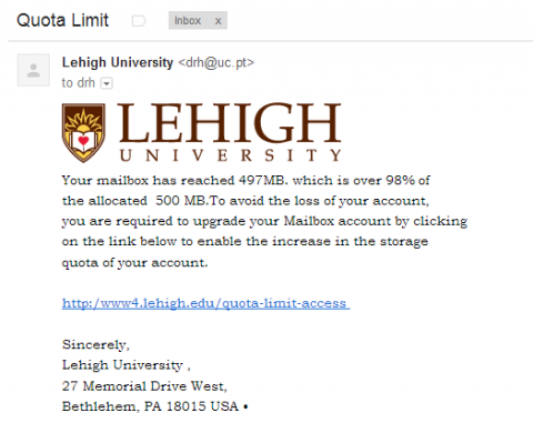 Quota Limit - Phishing Example