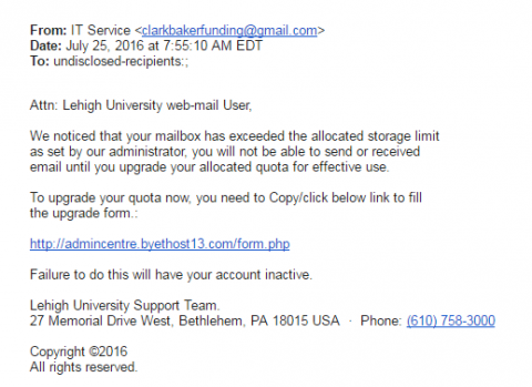 Phishing example from July 25, sender is generic Gmail account, link is not Lehigh branded