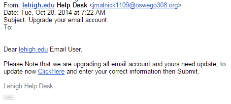 Fake Upgrade your email account message