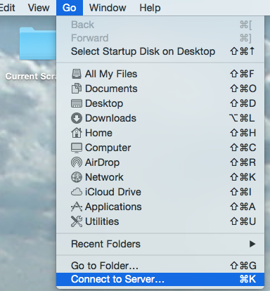 Mac Finder 'Connect to Server' command selected