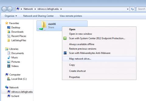 Map Network Drive command in contxtual menu