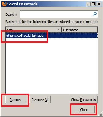 how to delete saved passwords firefox