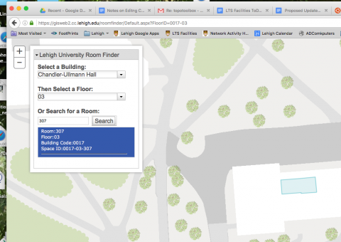 roomfinder site showing space id