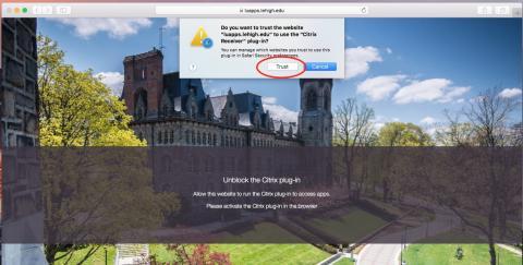 click trust in safari to run citrix receiver