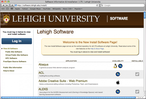 The Lehigh University Install Software (LUIS) web site