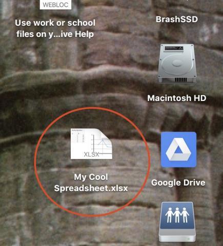 spreadsheet file icon on desktop