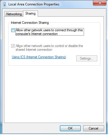 Internet Connection Properties sharing tab screenshot