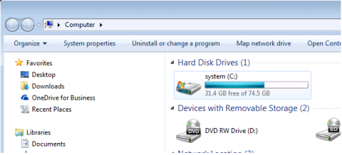 Windows C drive selected
