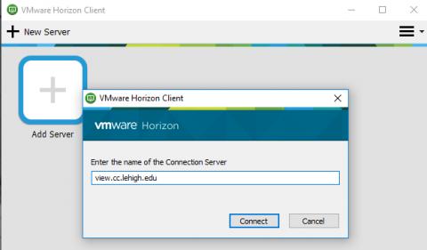 horizon add server dialog