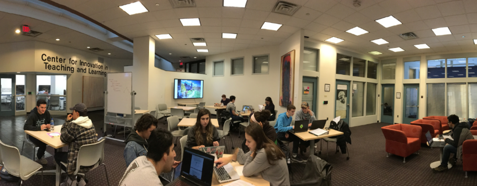 Panorama of students working in CITL common area