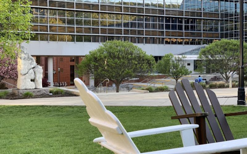 Chairs on STEPS lawn looking toward EWFM Library