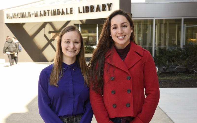 Lehigh undergraduates Rebecca Luttinen (l) and Brooke Schaeffer (r) shared the Libraries Student Research Prize for 2020.