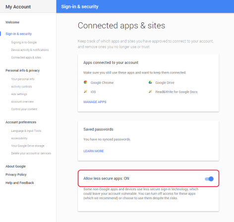less secure apps google