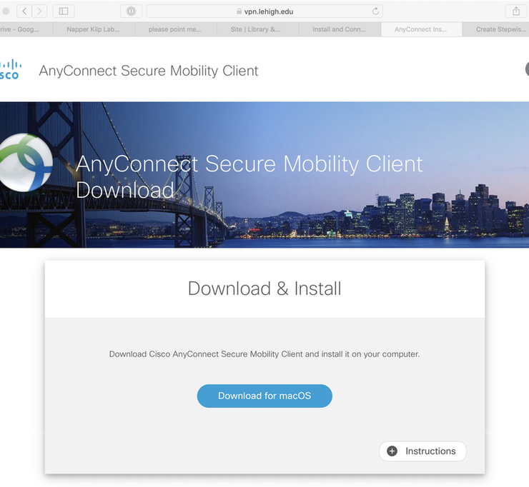 Download and Configure the Cisco AnyConnect VPN Client Software