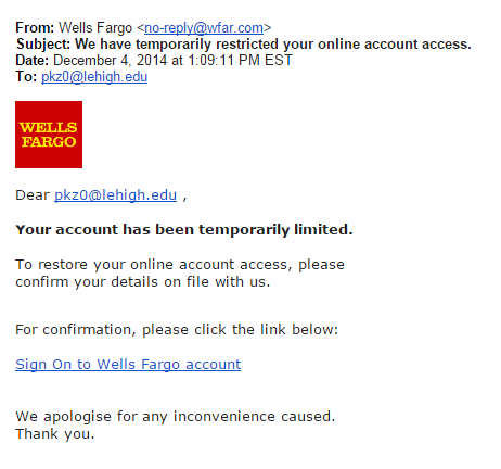 Fake Wells Fargo Message Library Technology Services